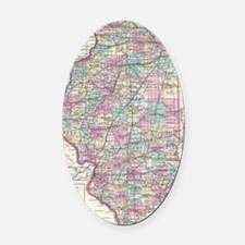 Vintage Map of Illinois (1855) Oval Car Magnet