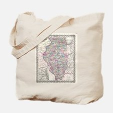 Vintage Map of Illinois (1855) Tote Bag