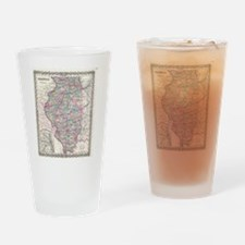 Vintage Map of Illinois (1855) Drinking Glass
