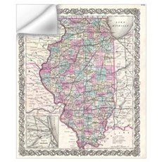 Vintage Map of Illinois (1855) Wall Decal