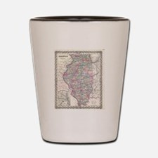 Vintage Map of Illinois (1855) Shot Glass