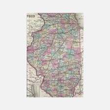 Vintage Map of Illinois (1855) Rectangle Magnet