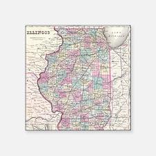 "Vintage Map of Illinois (18 Square Sticker 3"" x 3"""