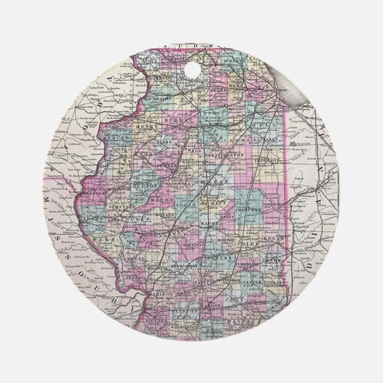 Vintage Map of Illinois (1855) Round Ornament
