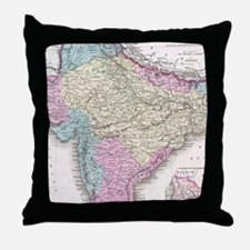 Vintage Map of India (1855) Throw Pillow
