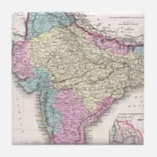 Vintage Map of India (1855) Tile Coaster