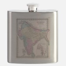 Vintage Map of India (1855) Flask
