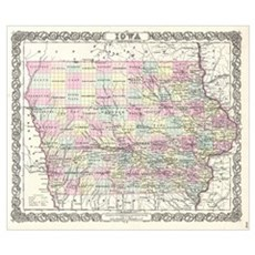 Vintage Map of Iowa (1855) Poster