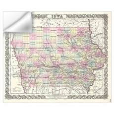 Vintage Map of Iowa (1855) Wall Decal