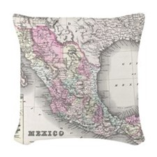 Vintage Map of Mexico (1855) Woven Throw Pillow