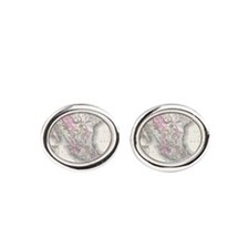 Vintage Map of Mexico (1855) Oval Cufflinks