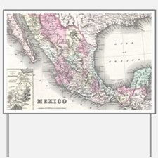 Vintage Map of Mexico (1855) Yard Sign