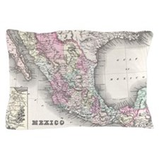 Vintage Map of Mexico (1855) Pillow Case
