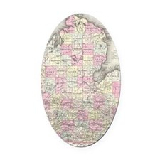Vintage Map of Michigan (1855) Oval Car Magnet