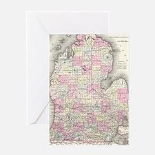 Vintage Map of Michigan (1855) Greeting Card