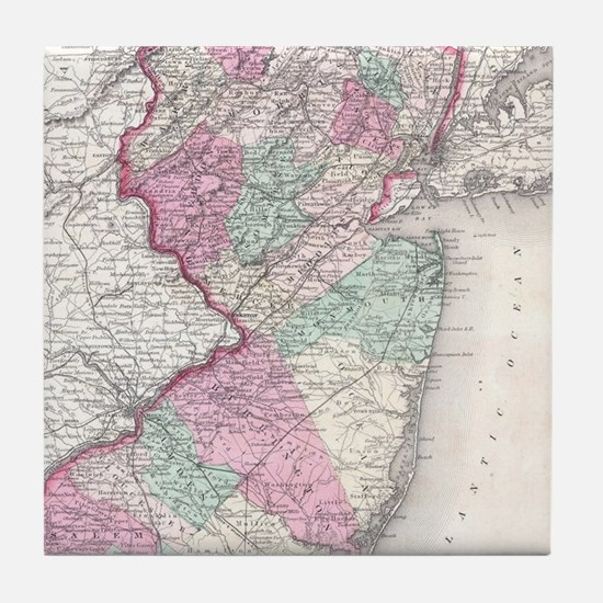 Vintage Map of New Jersey (1855) Tile Coaster