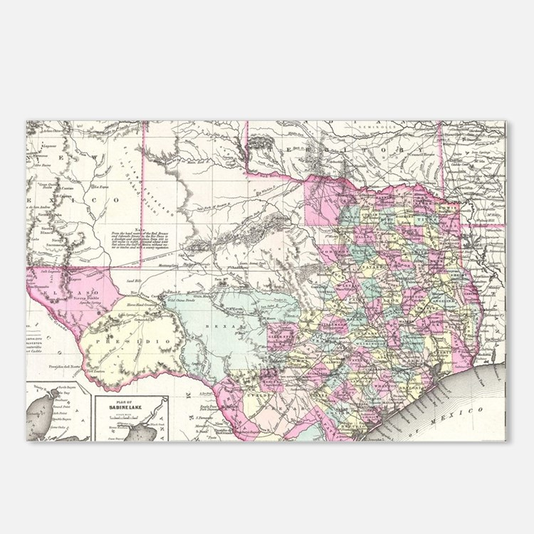 Vintage Map of Texas (185 Postcards (Package of 8)