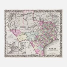 Vintage Map of Texas (1855) Throw Blanket