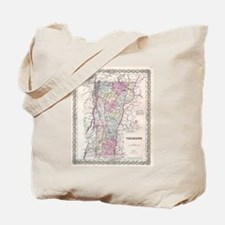 Vintage Map of Vermont (1855) Tote Bag
