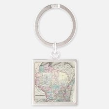 Vintage Map of Wisconsin (1855) Square Keychain