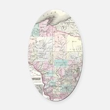 Vintage Map of Wisconsin (1855) Oval Car Magnet