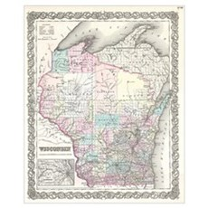 Vintage Map of Wisconsin (1855) Canvas Art