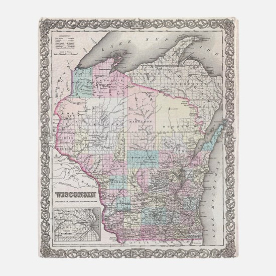 Vintage Map of Wisconsin (1855) Throw Blanket