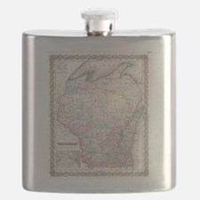 Vintage Map of Wisconsin (1855) Flask