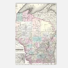 Vintage Map of Wisconsin  Postcards (Package of 8)