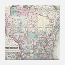 Vintage Map of Wisconsin (1855) Tile Coaster