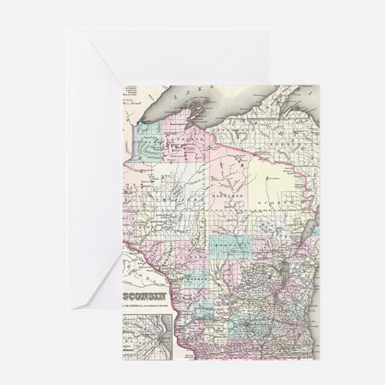 Vintage Map of Wisconsin (1855) Greeting Card