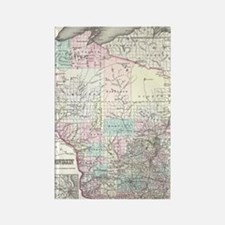 Vintage Map of Wisconsin (1855) Rectangle Magnet