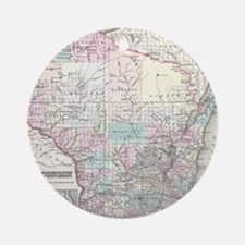 Vintage Map of Wisconsin (1855) Round Ornament