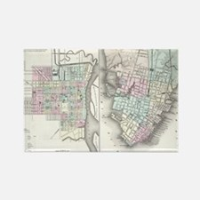 Vintage Map of Savannah and Charl Rectangle Magnet