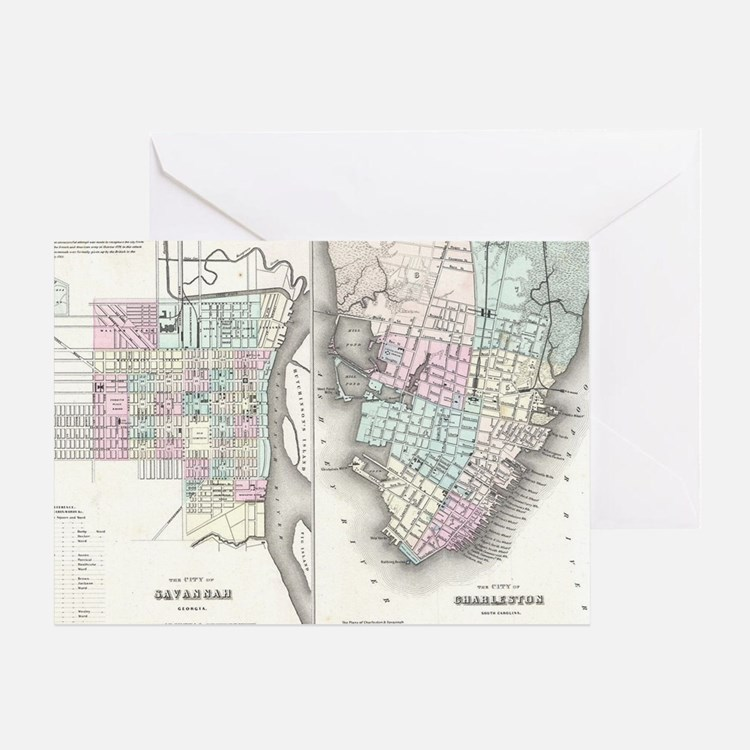 Vintage Map of Savannah and Charlest Greeting Card