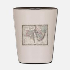 Vintage Map of Savannah and Charleston  Shot Glass