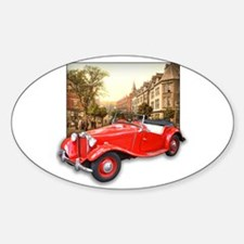 Red MG TD Roadster Oval Decal