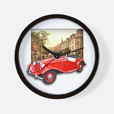 Red MG TD Roadster Wall Clock