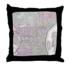 Vintage Map of Philadelphia (1855) Throw Pillow