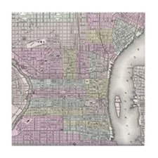 Vintage Map of Philadelphia (1855) Tile Coaster