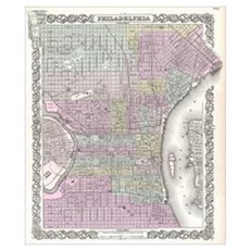 Vintage Map of Philadelphia (1855) Poster