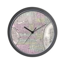 Vintage Map of Philadelphia (1855) Wall Clock