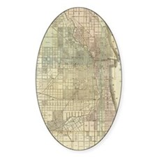 Vintage Map of Chicago (1857) Decal