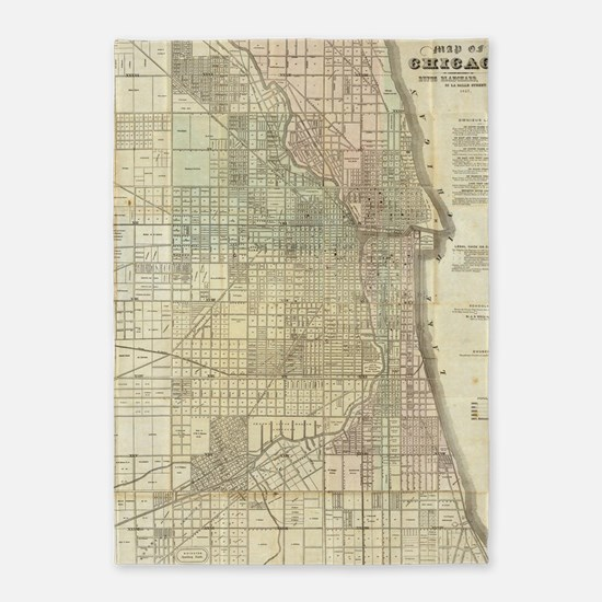 Vintage Map of Chicago (1857) 5'x7'Area Rug