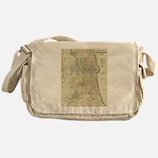 Vintage Map of Chicago (1857) Messenger Bag