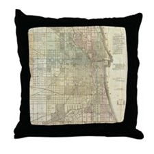 Vintage Map of Chicago (1857) Throw Pillow