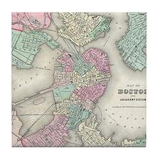 Vintage Map of Boston Harbor (1857) Tile Coaster