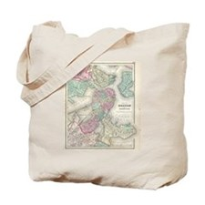Vintage Map of Boston Harbor (1857) Tote Bag