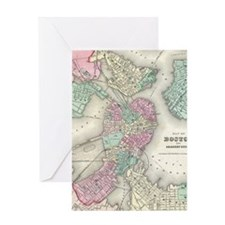 Vintage Map of Boston Harbor (1857) Greeting Card