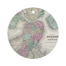 Vintage Map of Boston Harbor (1857) Round Ornament
